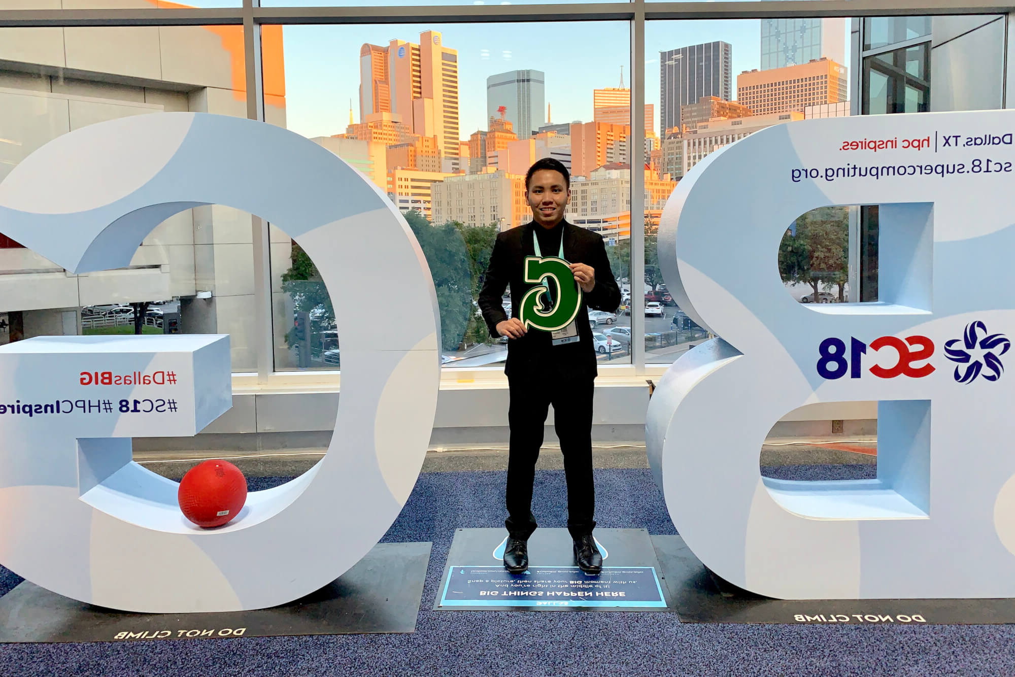 UOG sophomore Nilo Espinoza at the Supercomputing18 conference in November in Texas