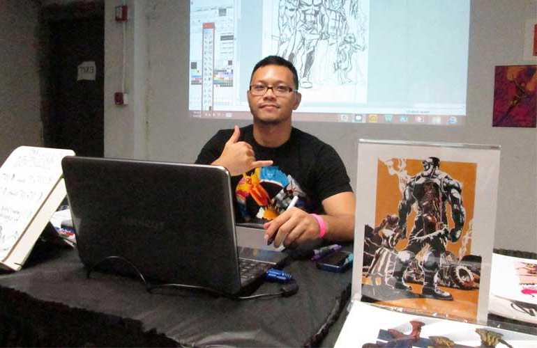 Chargualaf is one of the only local artists to work professionally in the comic book industry.